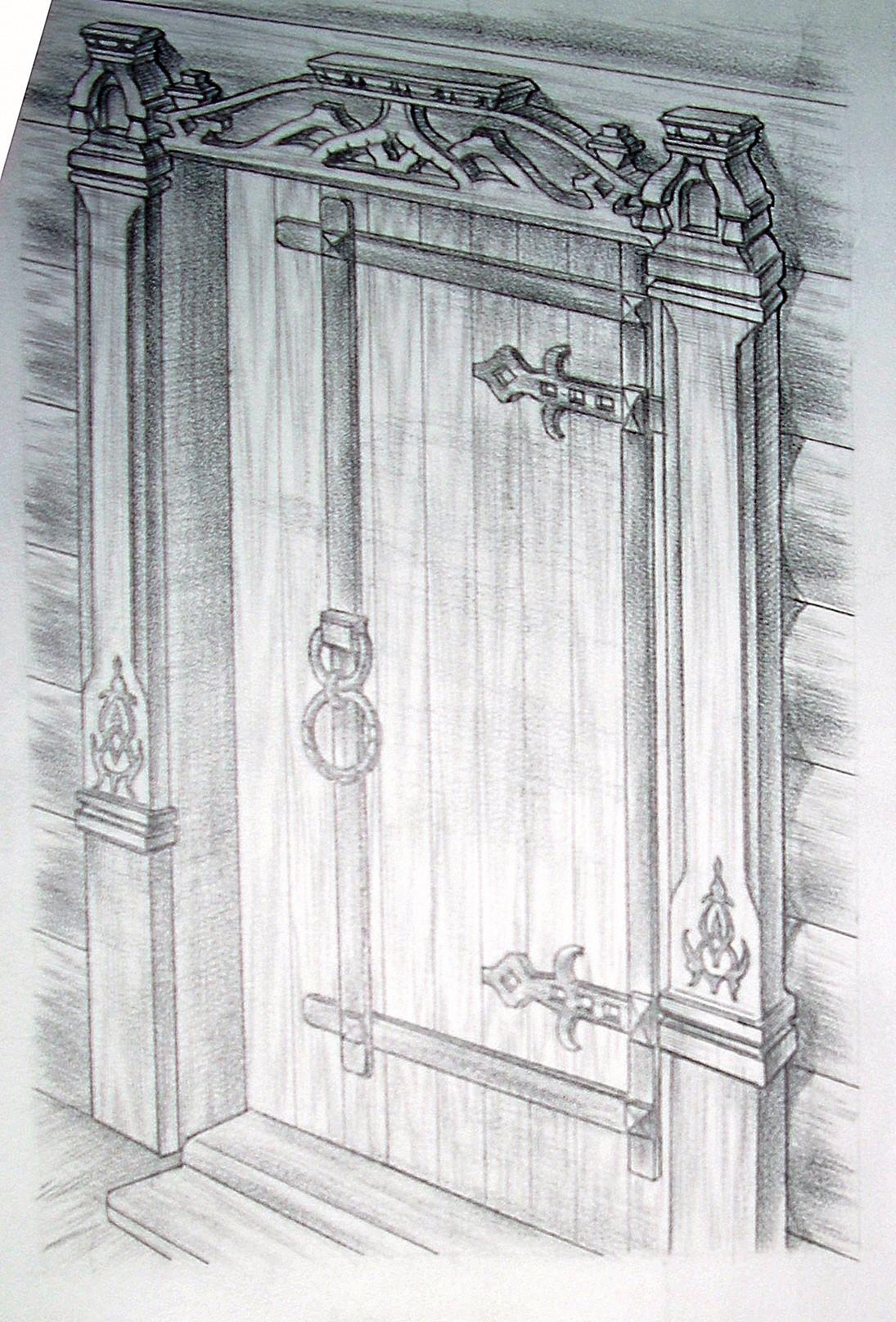 Дверь в баню с наличником. Русский стиль.