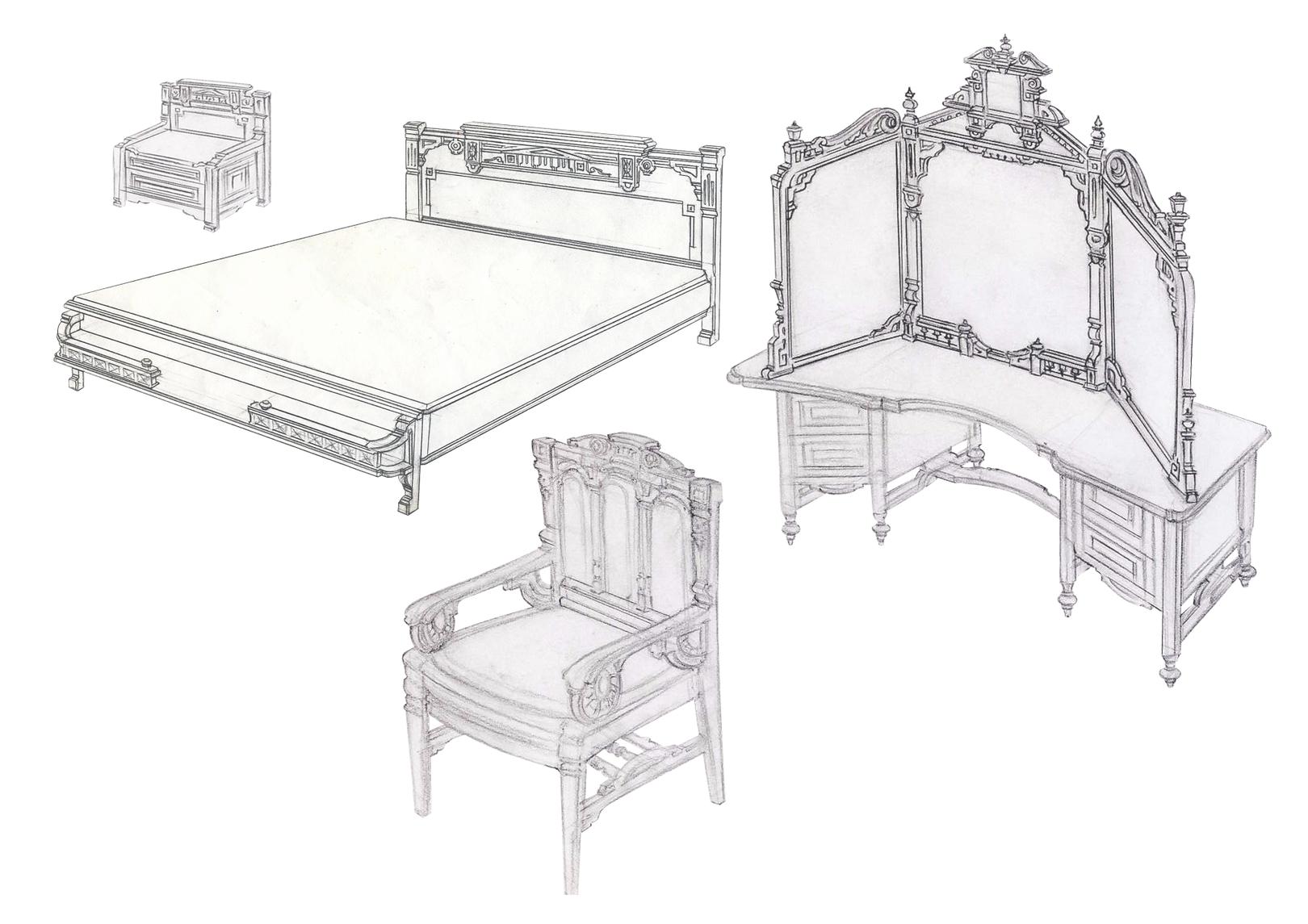 Мебель в спальню - стиль Людовика XVI.