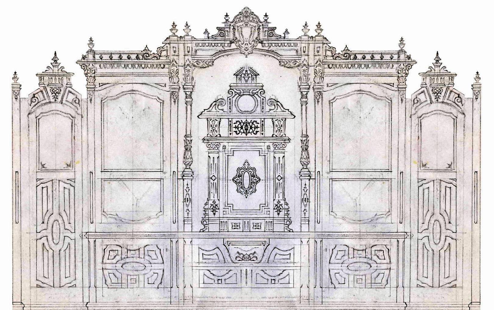 Викторианский стиль.Шкаф-стенка в кабинет (с сейфом). Форэскиз фасада.