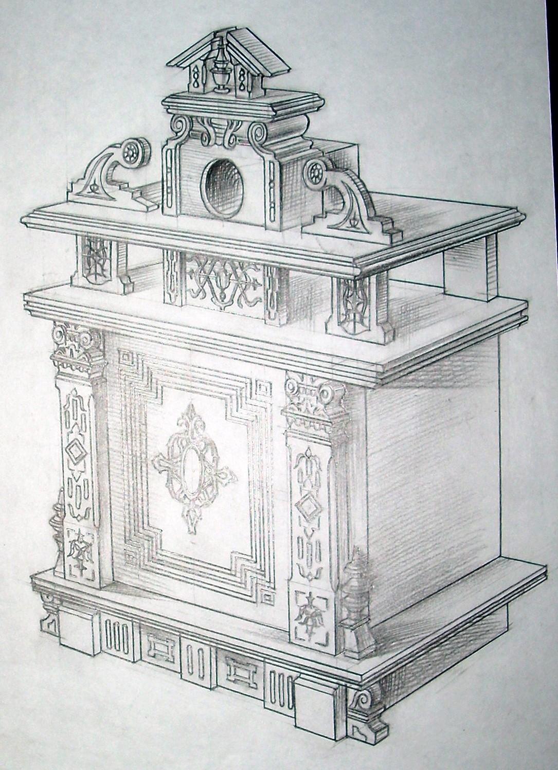 Викторианский стиль.Перспективный эскиз фасада сейфа.