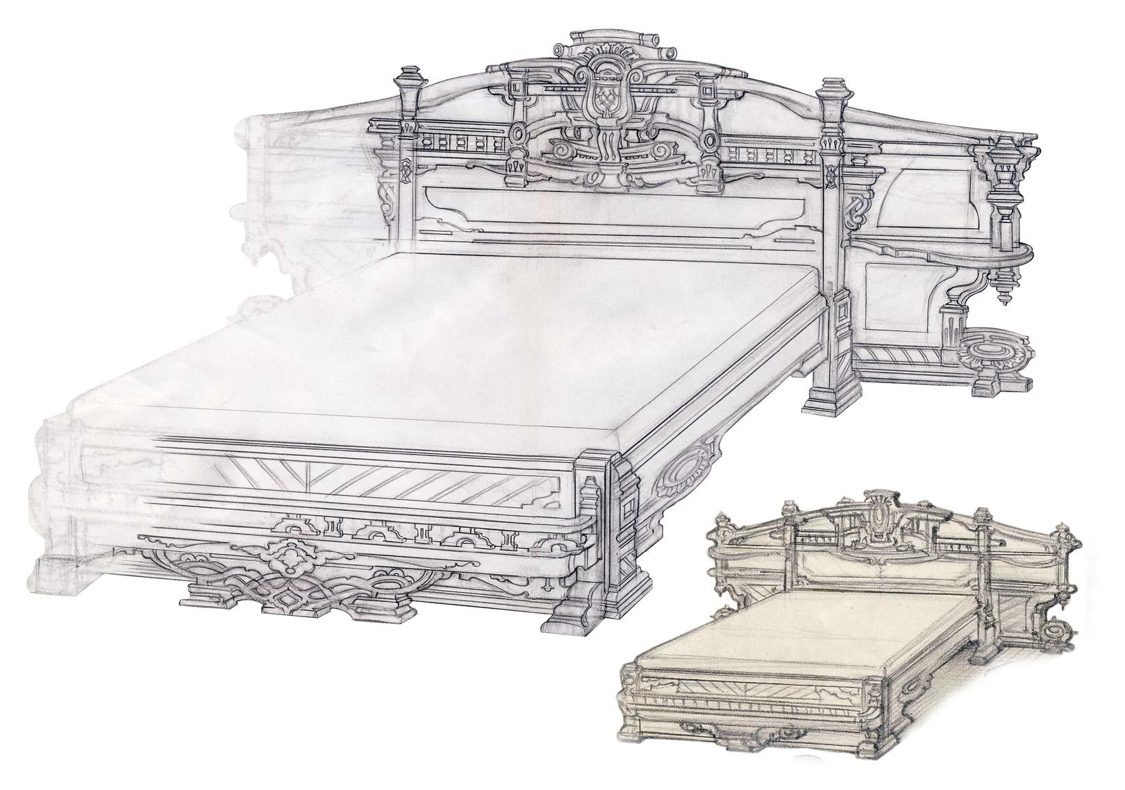 Кровать - перспективный вид. Барокко.