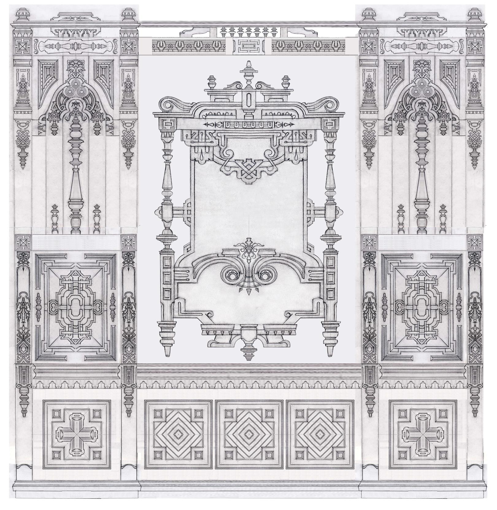 Викторианский стиль. Фрагмент панелей кабинета.