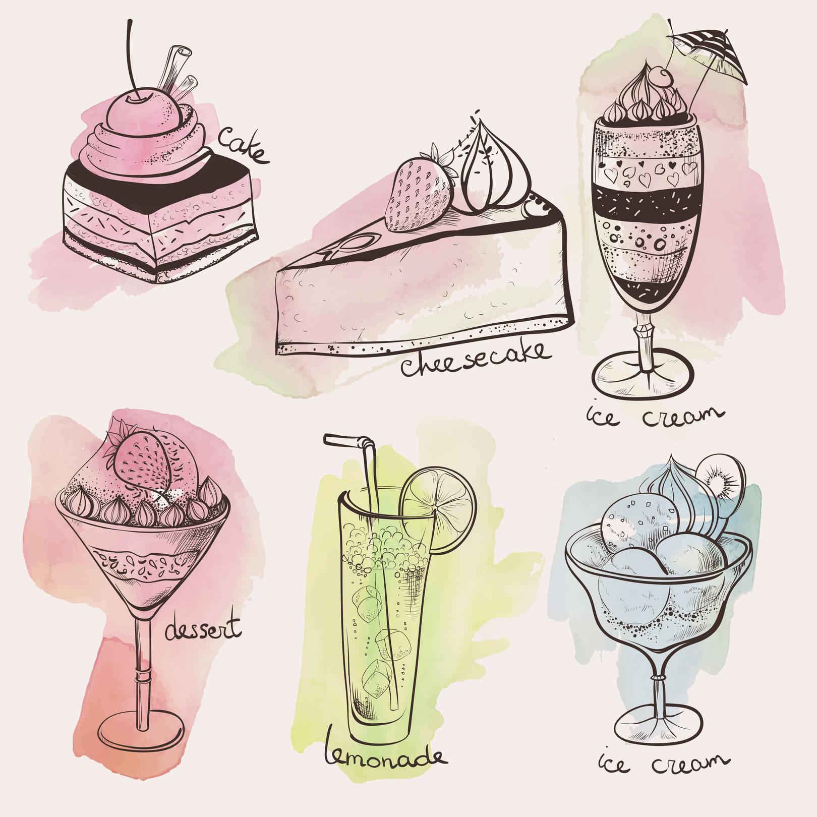 Коллекция векторных десертов