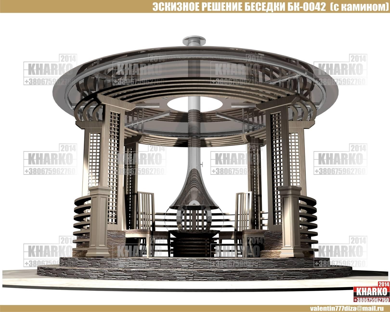 проект беседки БК-0041 (с барбекю),project pergola, gazebo, shed  общая площадь беседки- 9,8 м. кв. эксплуатируемая площадь беседки-9,2 м.кв. габаритные размеры - 3,4 м. на 3,4 м. тип фундамента-монолитный ж/б материал наружной стены и опор-кирпич, бетон,дерево тип кровли-битумная черепица Наружная отделка цоколя -декоративный камень Стоимость проекта- 1500 грн.