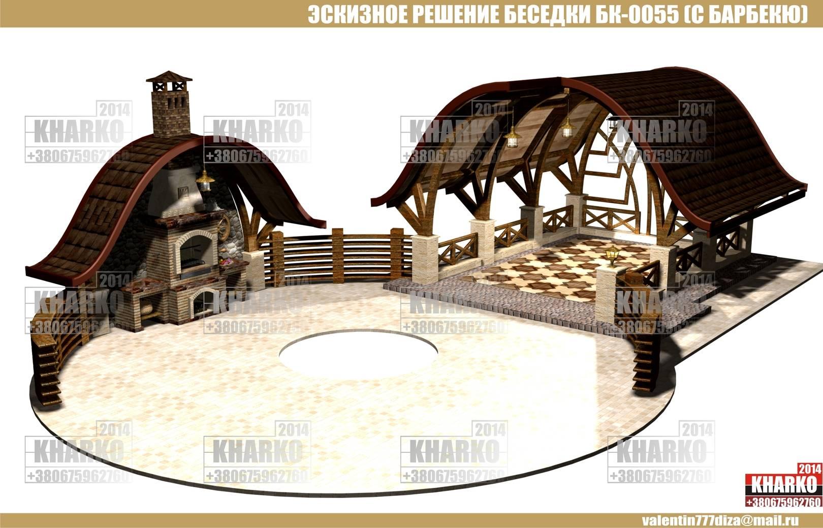 проект беседки БК-0055 (с барбекю), project pergola, gazebo, shed  общая площадь беседки- 24,8 м. кв. эксплуатируемая площадь беседки-21,4 м.кв. габаритные размеры - 4 м. на 6,2 м. тип фундамента-монолитный ж/б материал наружной стены и опор-кирпич, бетон,дерево тип кровли-битумная черепица, керамика Наружная отделка цоколя -декоративный камень Стоимость проекта- 1500 грн.