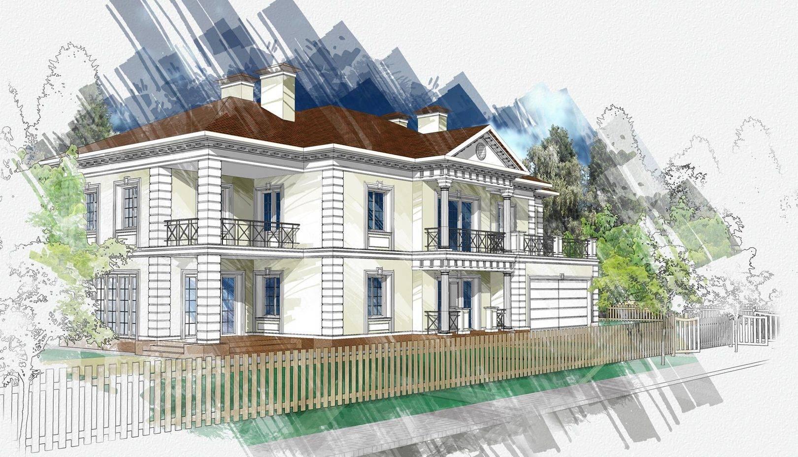 реконструкция дома (фасад ландшафт)