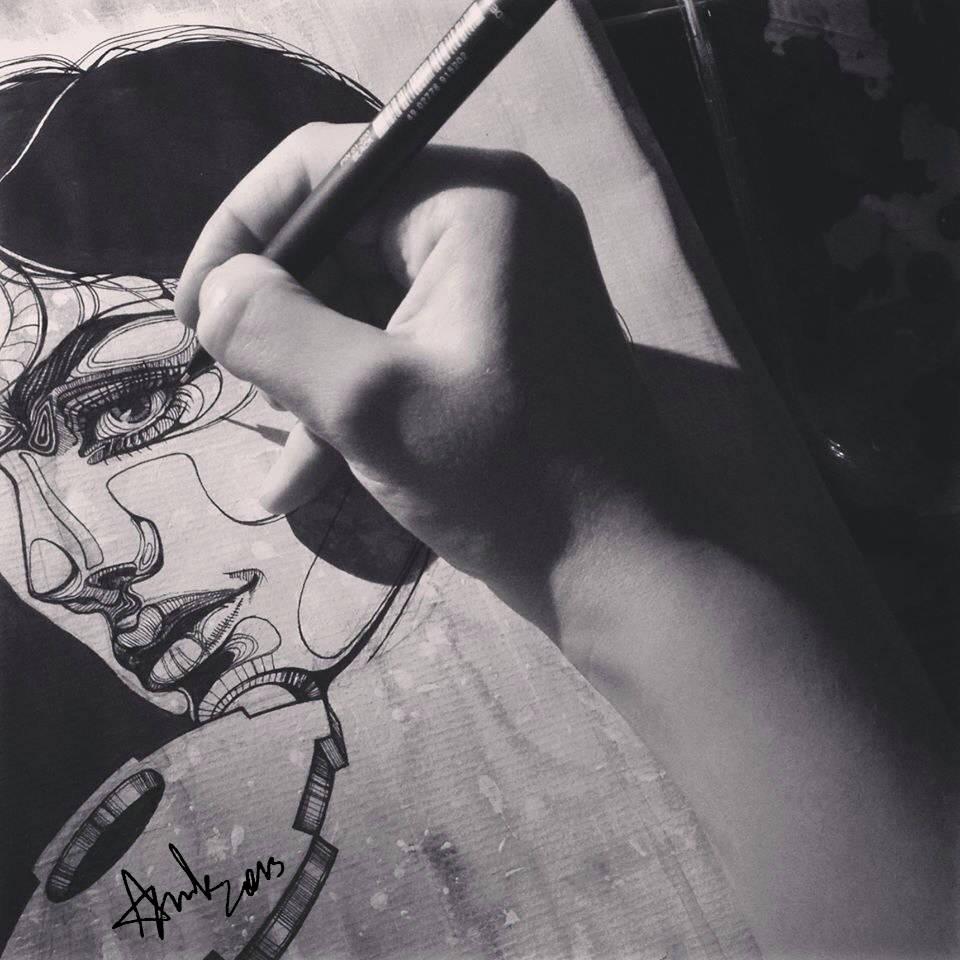 """Иллюстрация """"Биомеханическая женщина"""". Процесс."""