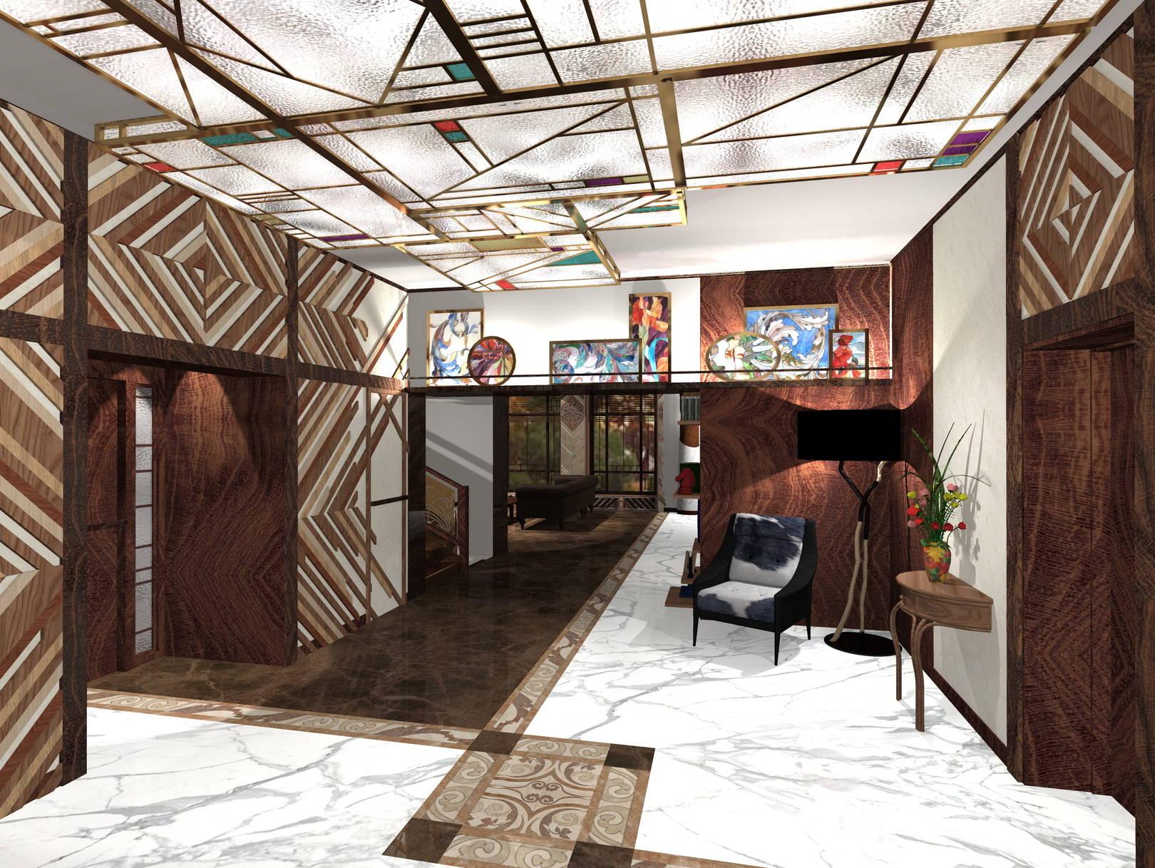Геометрический витражный плафон в холле, деревянной панно