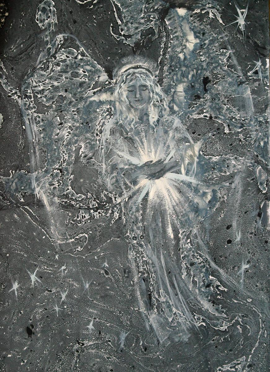 """По небу полуночи ангел летел. Иллюстрация к стих М.Ю. Лермонтова """"Ангел"""". 40х30"""