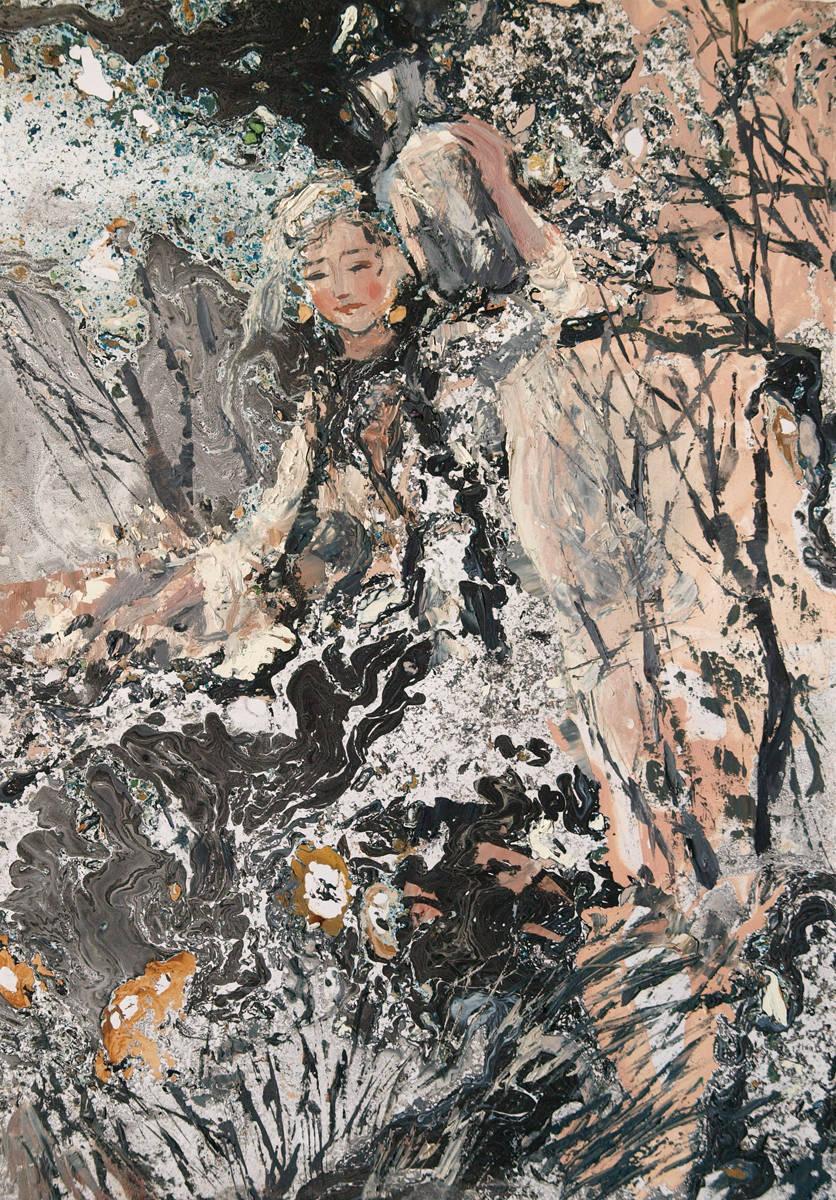 """Грузинка. Иллюстрация к поэме М.Ю. Лермонтова """"Мцыри"""". Смеш. техника, 30х21"""