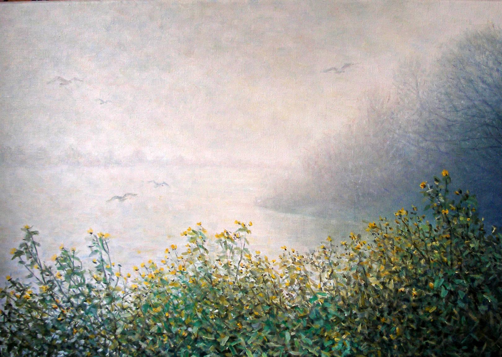 Цветы в тумане, х., масло, 50х70
