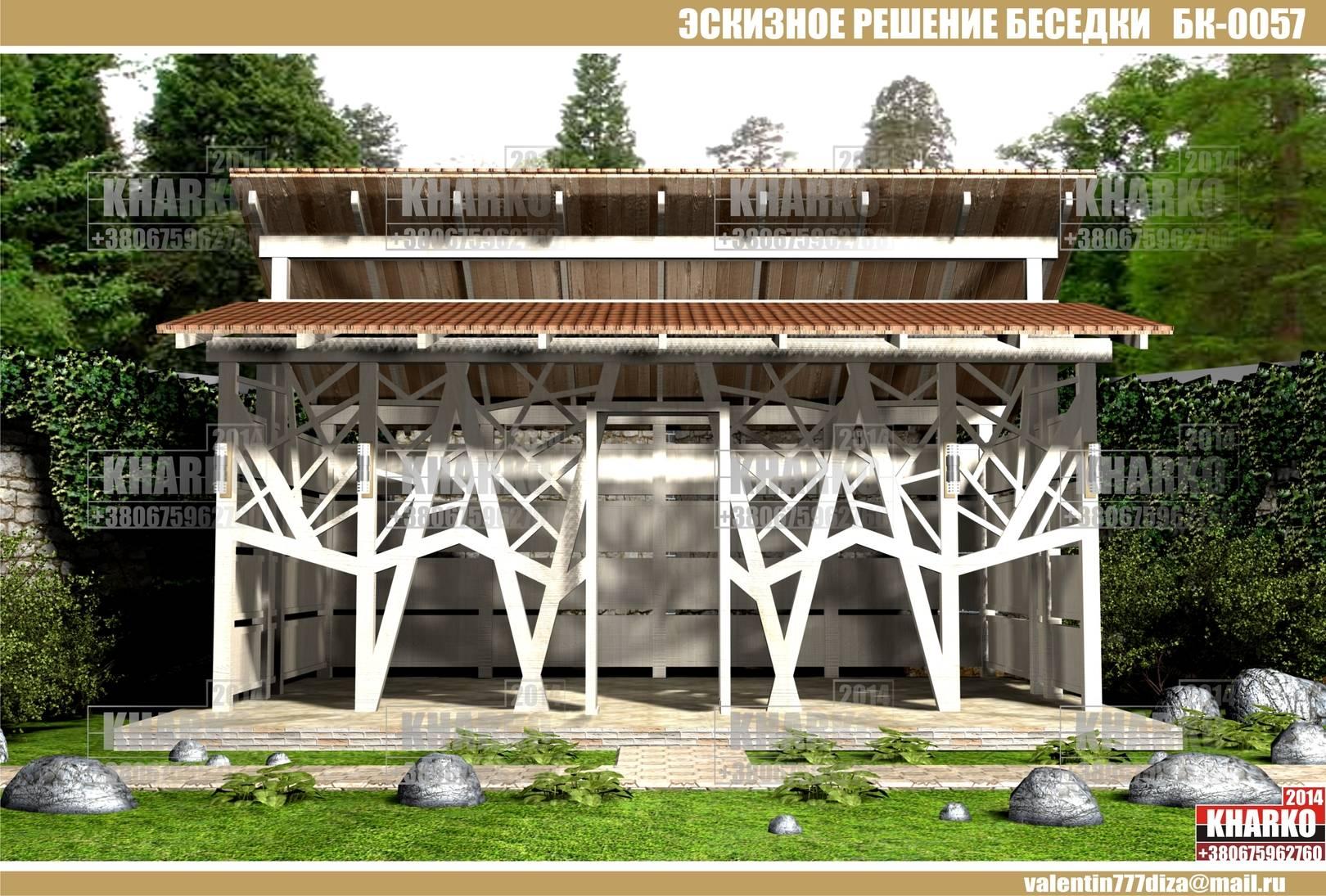 проект беседки, перголы БК-0057 , project pergola, gazebo, shed  общая площадь беседки- 28,2 м. кв. эксплуатируемая площадь беседки-25 м.кв. габаритные размеры - 6,7 м. на 4,2 м. тип фундамента-монолитный ж/б материал наружной стены и опор-кирпич, бетон,дерево тип кровли-битумная черепица, керамика Наружная отделка цоколя -декоративный камень Стоимость проекта- 1500 грн.