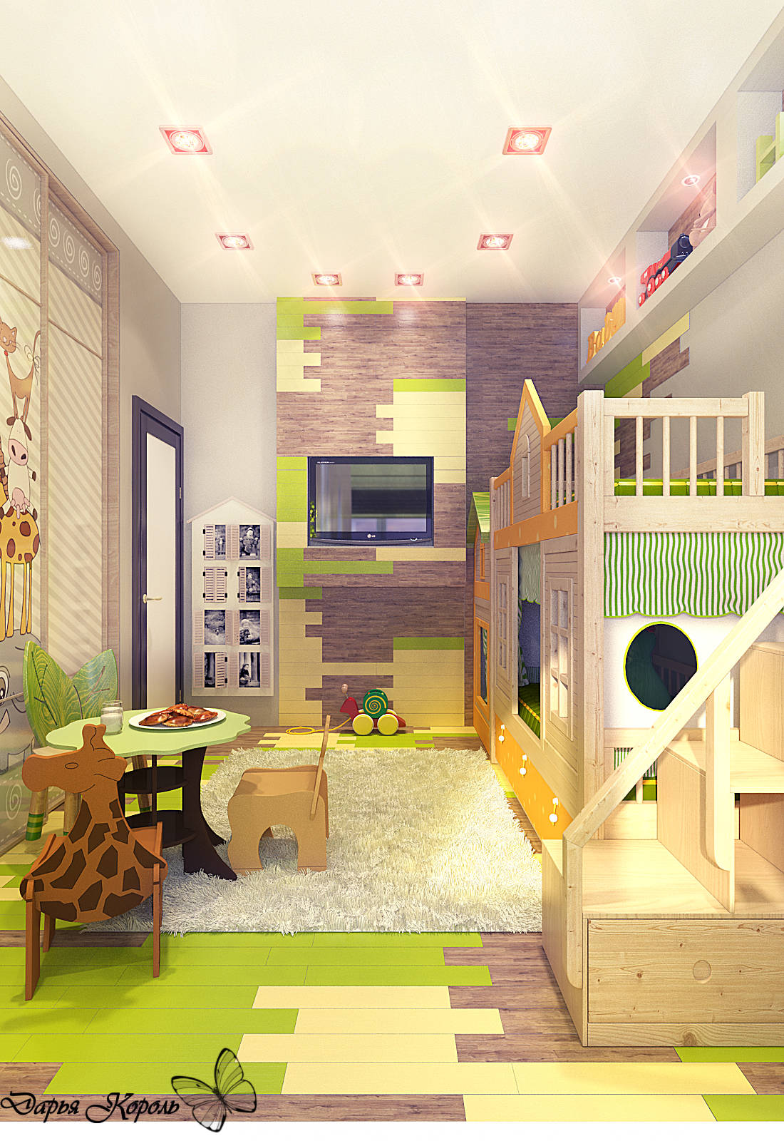 Eco style and a loft for kids