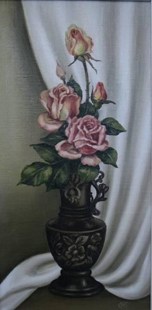 Розы (холст,масло)-художник Ядвига Сенько