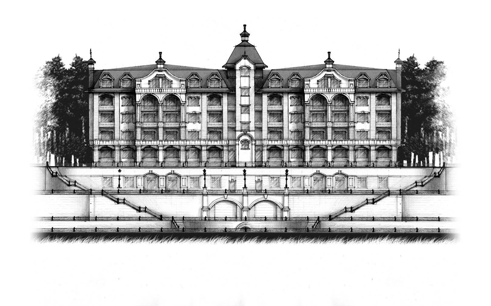 эскиз дома жилого комплекса