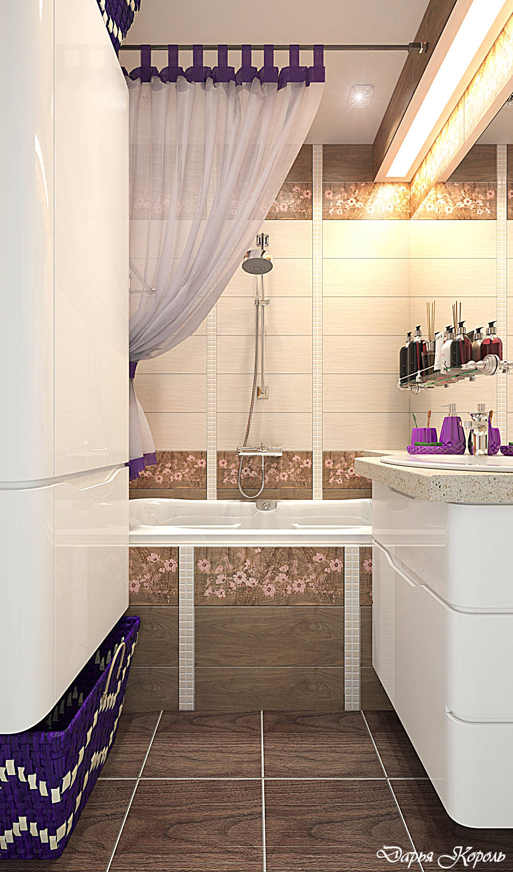 Bathroom with a tree and flowers