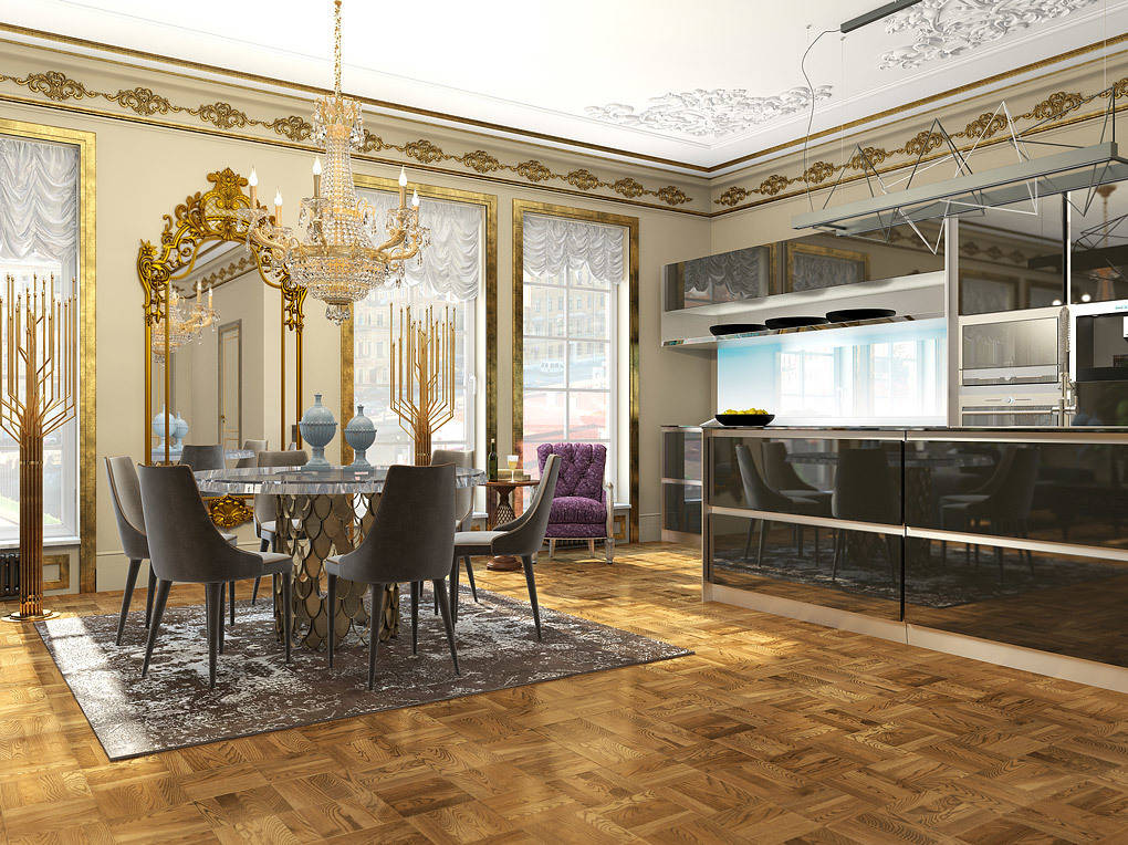 Роскошная гостиная, открытая для приема высоких гостей, оснащена современной кухней SieMatic