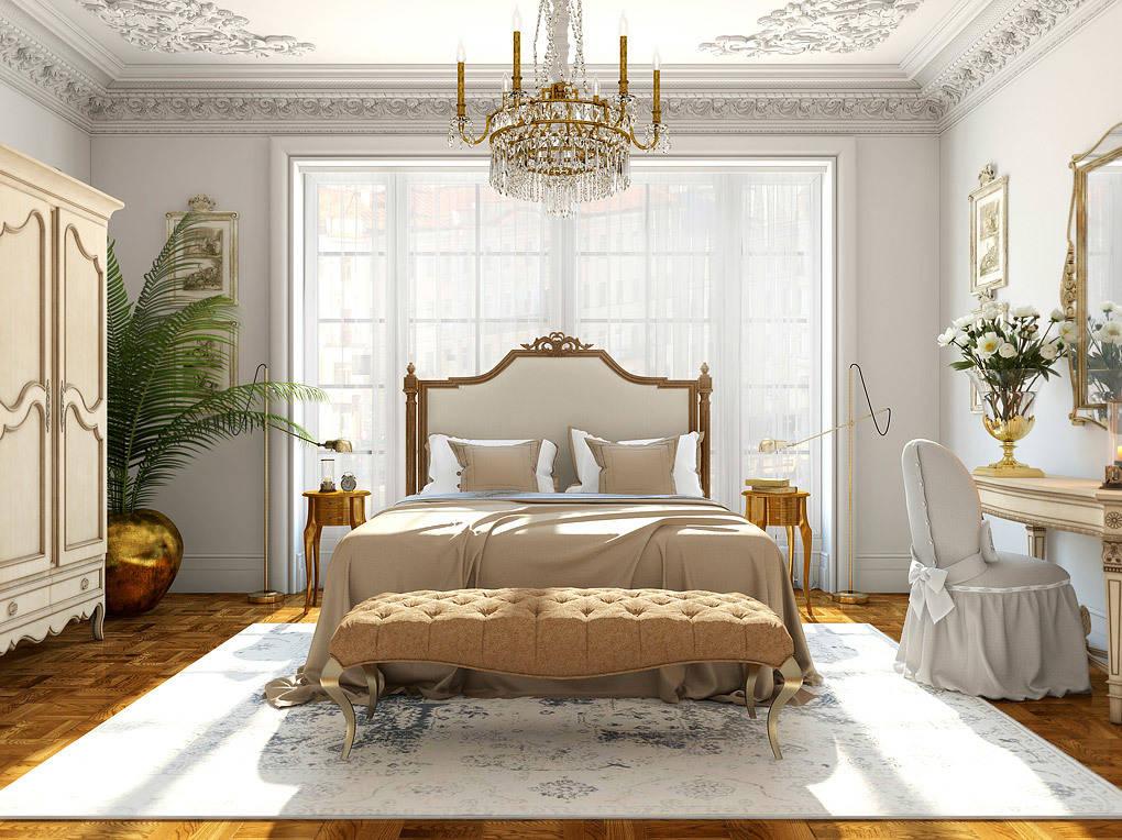 В более сдержанной цветовой гамме выполнена спальня. Потолок и стены выкрашены в цвет морской пены, мы сознательно отказались от белого цвета, чтобы придать помещению вид прошедшего времени