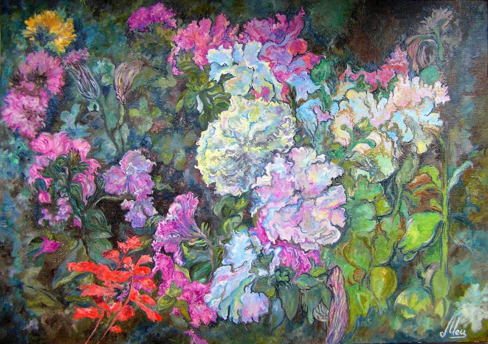 Цветы, холст, масло, 35*50, 2012 г