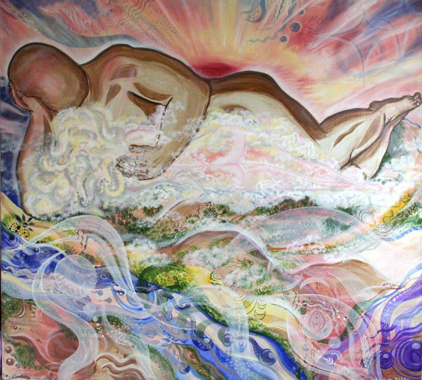 """""""Ночевала Тучка золотая на груди Утеса-Великана""""    Усиливает взаимную нежность и Любовь. Утверждает в мужчине Силу, основательность и ответственность, а в женщине – легкость, мягкость и женственность. Картина в Авторской технике. Картина на холсте. Картина продается."""