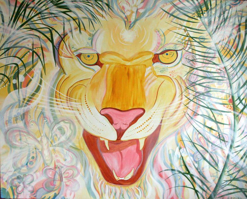 """""""Солнечный лев и бал бабочек"""" Картина в Авторской технике. Картина на холсте. Картина продается."""