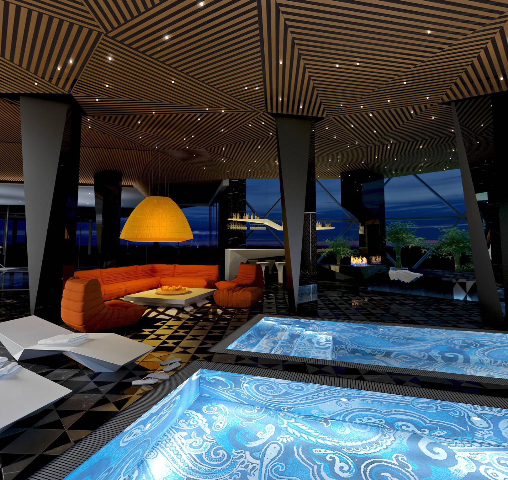баня с бассейном в частном доме