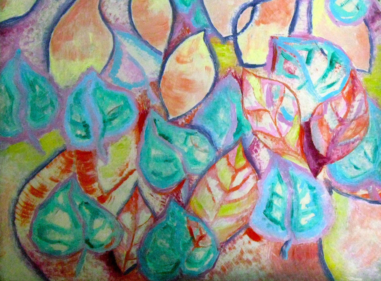 """Осенний листопад"" 2014 г. 36*49,5 см. масло, картон"