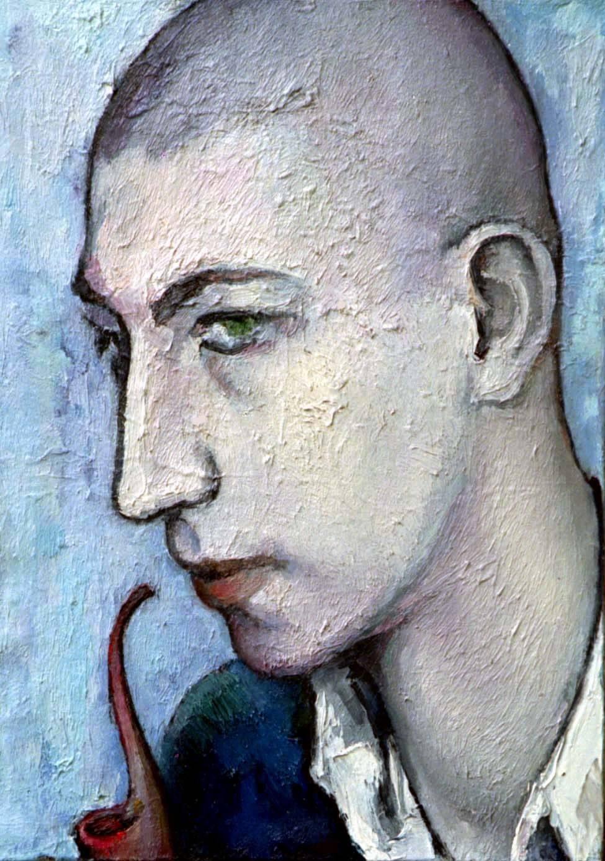 Михаил Белов с трубкой х.м. 50х36 1996