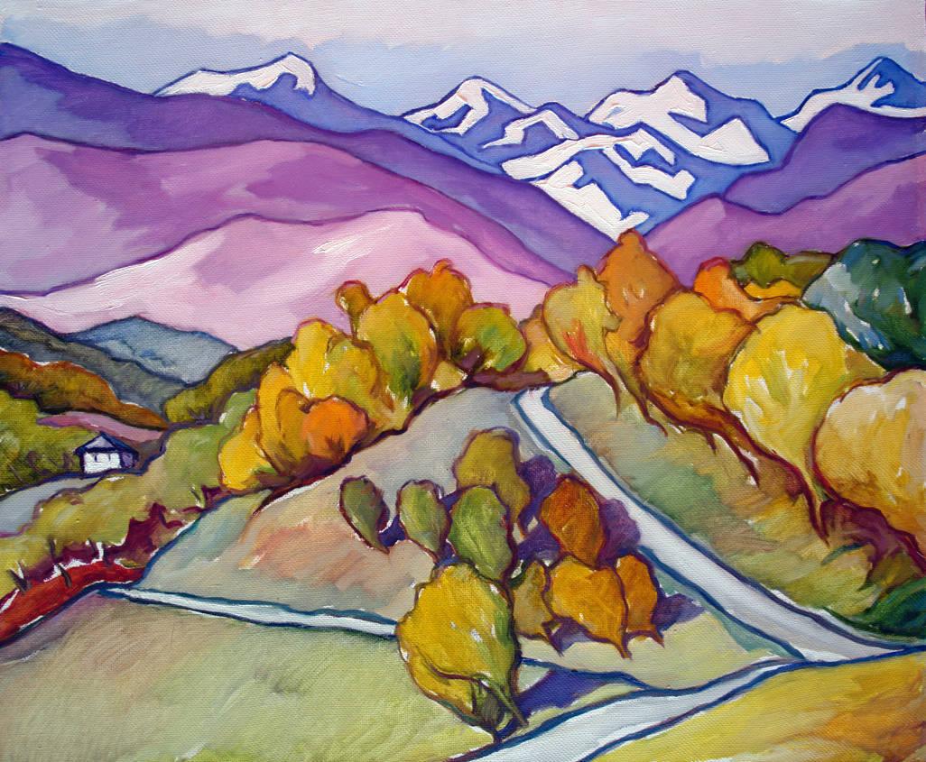 Снежные вершины.Абхазия х.м. 50х60 2012