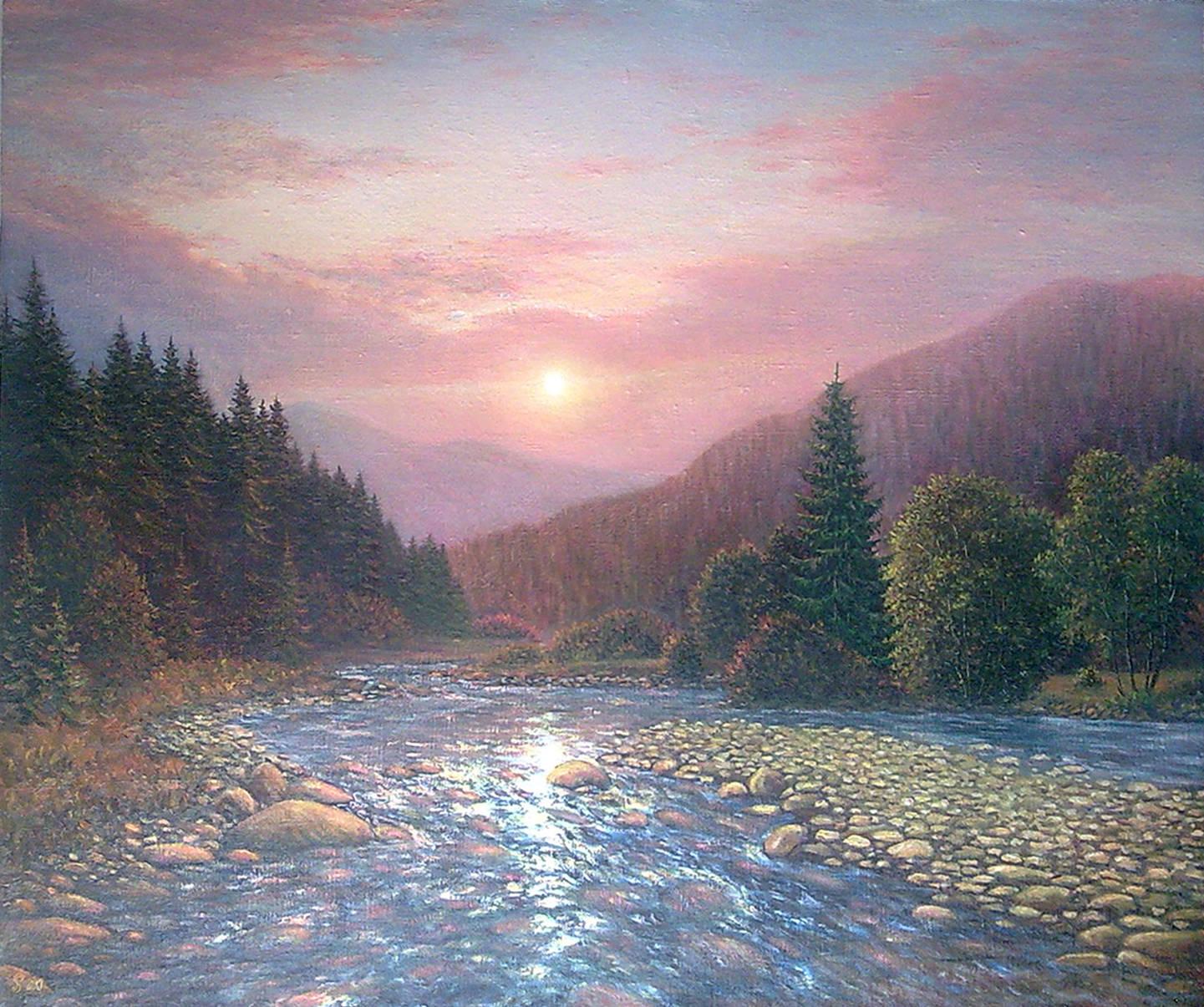 "''Indomitable flow ..."" 75х89 oil on canvas 2013    ""Нестримна течія...'' 75х89 полотно,олія 2013"
