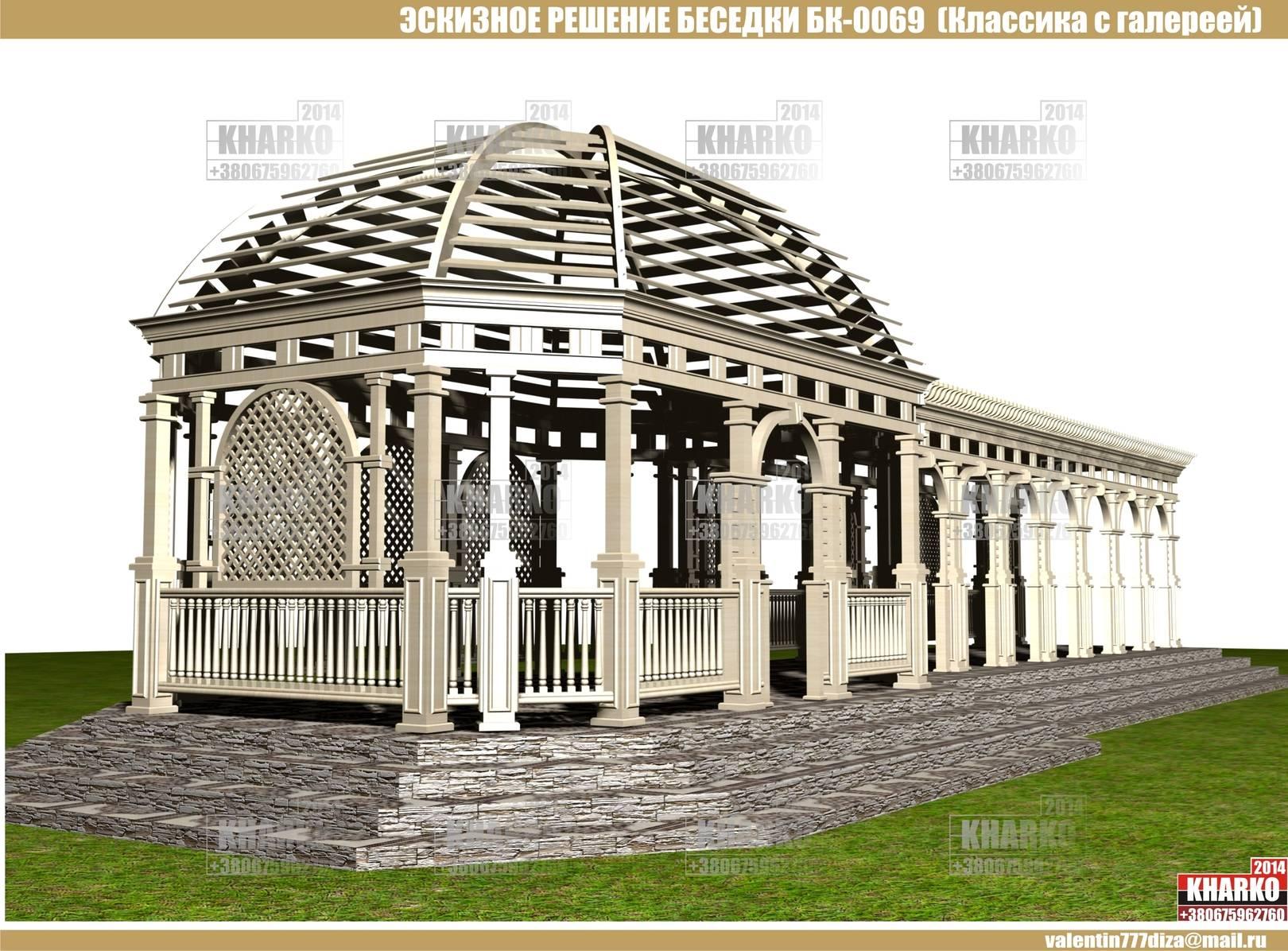 проект беседки БК-0069,  (Классический стиль с галереей),project pergola, gazebo, shed  общая площадь беседки- 29,4 м. кв. эксплуатируемая площадь беседки-24,5 м.кв. габаритные размеры беседки- 4,3 м. на 6,8 м. размер галереи-10,2 х 3,5 -35,7 м.кв. тип фундамента-монолитный ж/б материал наружной стены и опор-дерево тип кровли- дерево Наружная отделка цоколя -декоративный камень Стоимость проекта- 3500 грн.