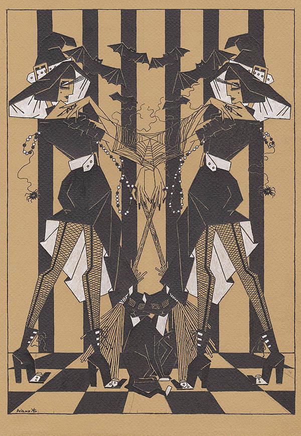 """""""Ведьмы"""". Формат А4 29,7 х 21 см. Бумага для пастели, материал - гелевые ручки."""