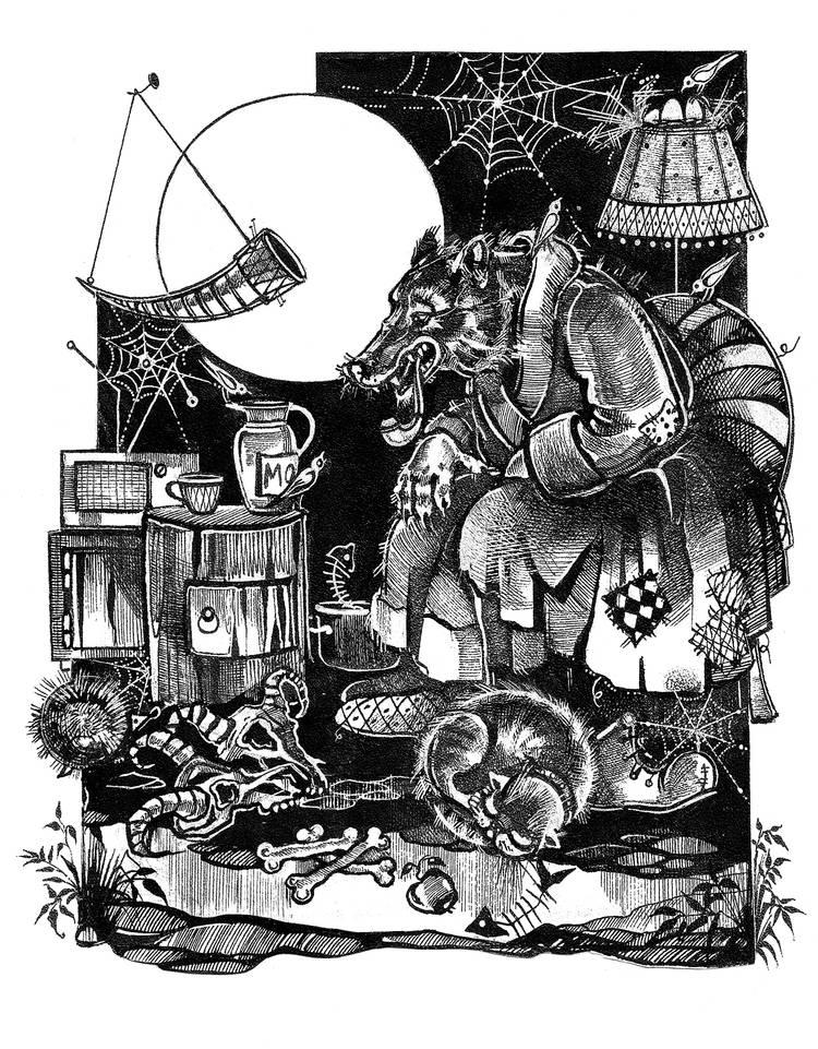 В гостях у волка. Книга рассказов А.Краузе. Рисунок. Тушь, перо.