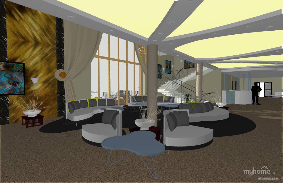 Эскизная визуализация вестибюля гостиницы. В центральной части вестибюля гостиницы находится место отдыха посетителей. Оно располагается перед застекленной частью фасада. Обустроено мягкой удобной мебелью, фирмы IL Loft. Мягкие плавные формы этой мебели и насыщенные цвета помогают создать интерьеру необычный вид. В качестве дополнительного декора выбраны цветочные композиции и картины. Искусственное освещение вестибюля осуществляется с помощью световых панелей вмонтированных в потолок и лампочек в виде подводных пузырей. Полы наливные, стены отделаны декоративной штукатуркой. Вестибюль выполнен в легких холодных тонах закатного солнца на водной глади.