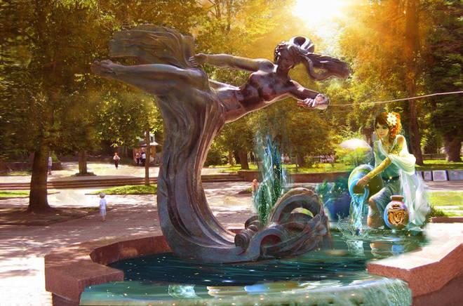 Truskavec. Park. Sculpture Naftussya. Fotofantaziya ...     Трускавець. Парк. Скульптура Нафтусі. Фотофантазія...