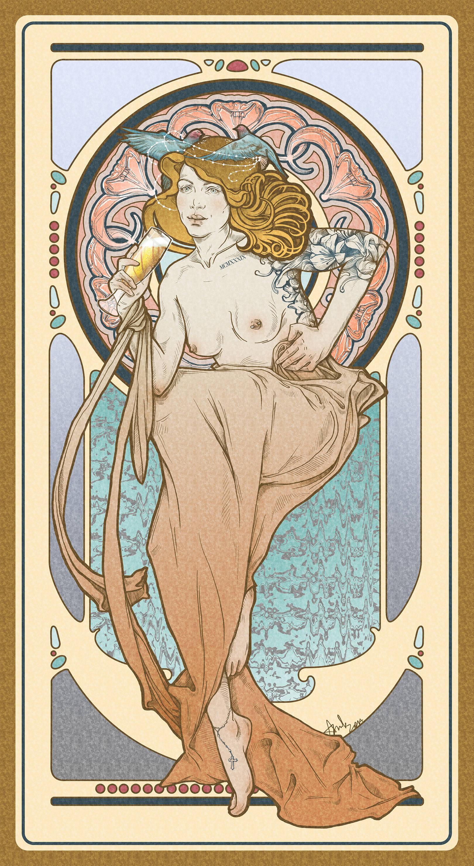 Стилизация под творчество Альфонса Мухи, иллюстрация изображает Чехию, если бы она была человеком (по моей версии).