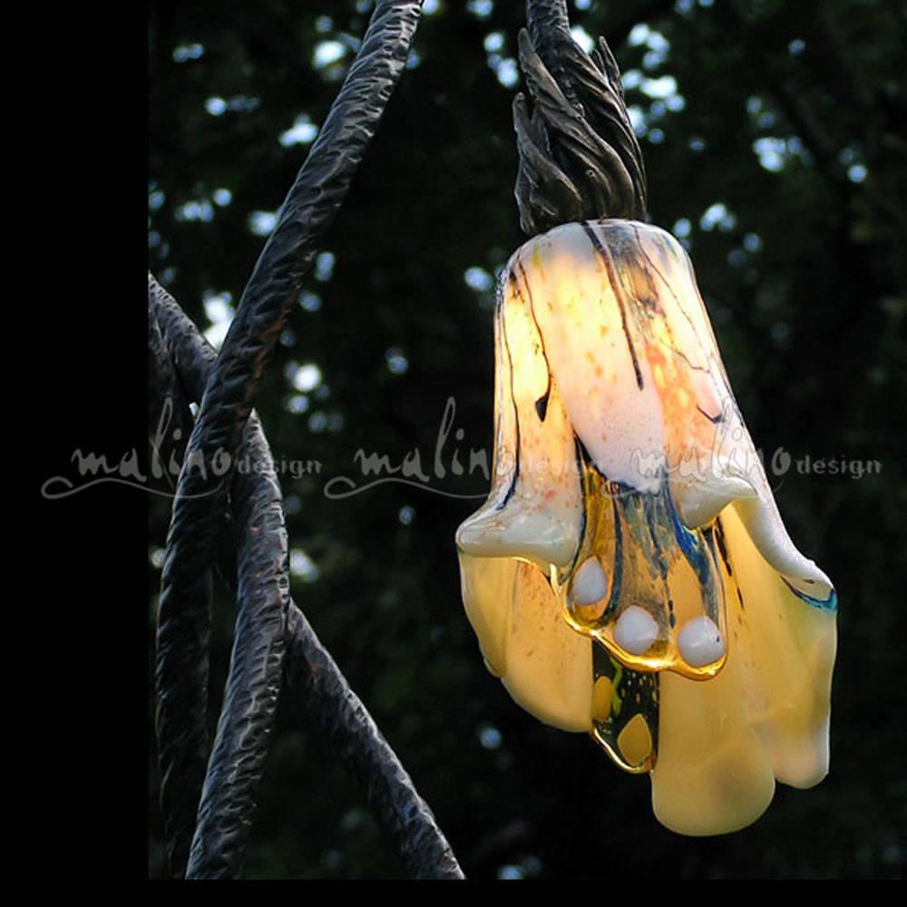 """Уличный светодиодный светильник из коллекции """"Бионика"""". Медь, бронза, цветное художественное стекло"""