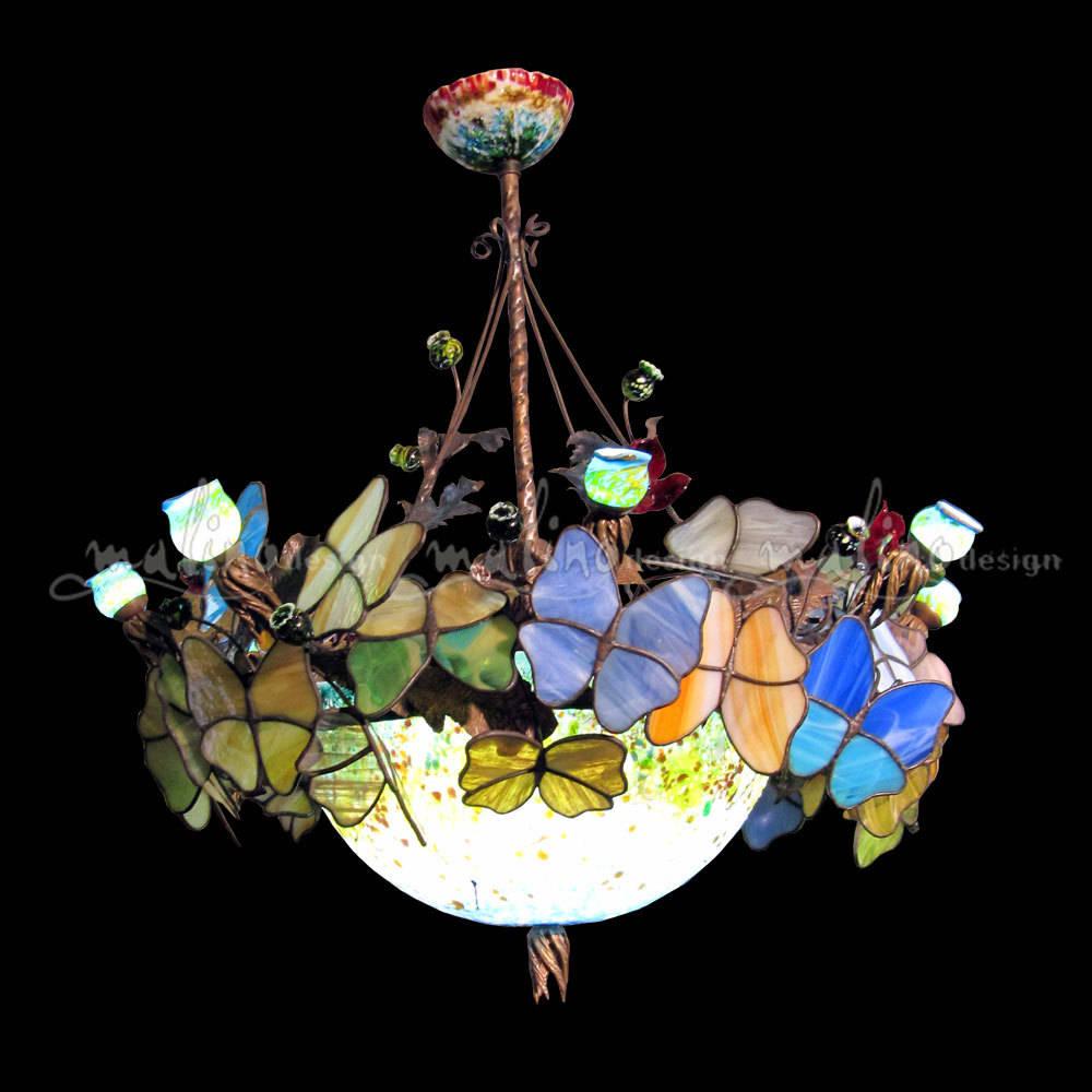 """Светодиодная люстра. Медь, цветное художественное стекло. Совместная работа. Эскиз, разработка, монтаж, цветное стекло - Алексей Романовский, Оксана Парфентьева. Бабочки """"тиффани""""- Ирина Пономарева."""