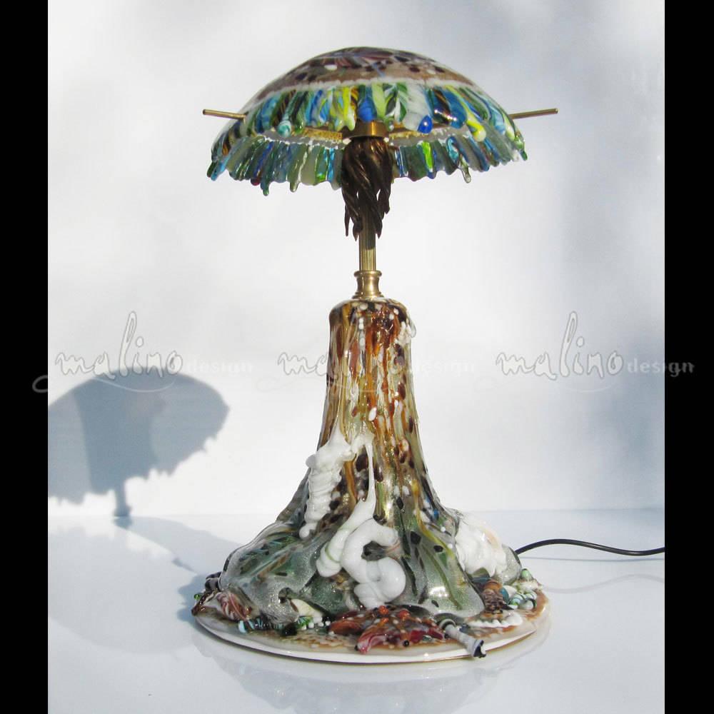 """Светодиодный светильник для дома. Коллекция """"Медуза"""" . Цветное художественное стекло. Бронза."""