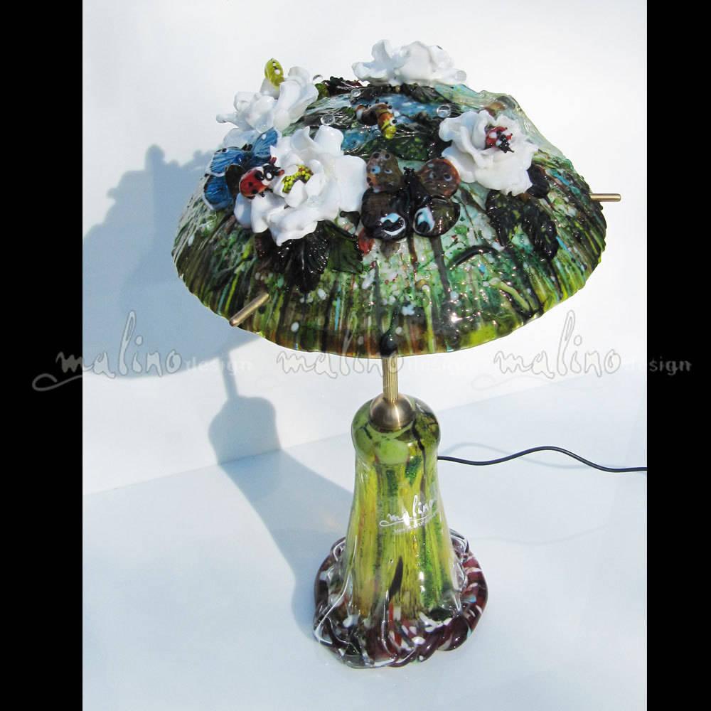 """Светодиодный светильник для дома и сада. Коллекция """"Сад Моне"""". Цветное художественное стекло. Бронза."""