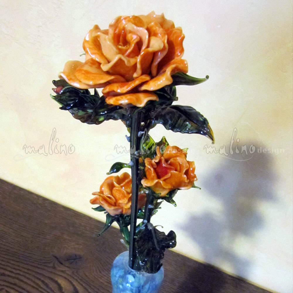 Букет оранжевых роз. Цветное художественное стекло. Лэмпворк.