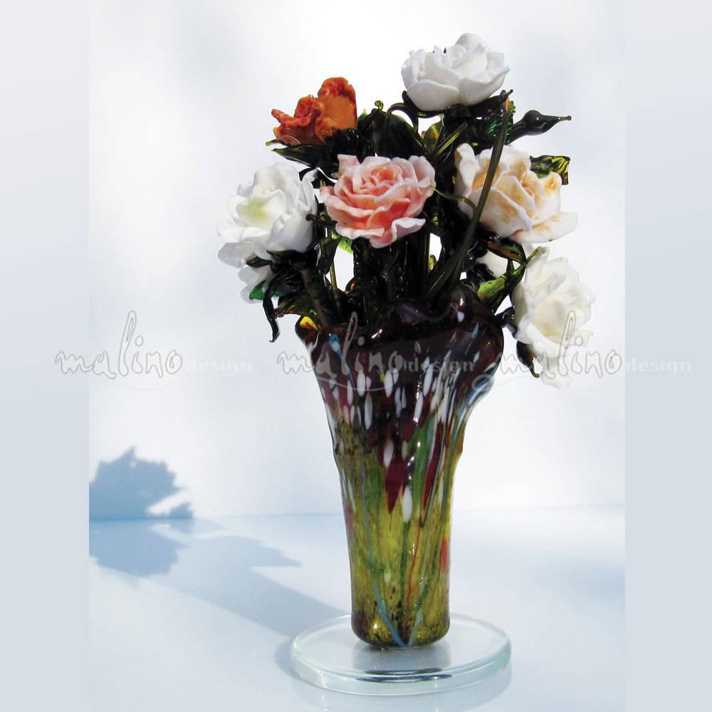 """Букет роз из коллекции """" Сад Моне"""". Цветное художественное стекло. Лэмпворк."""