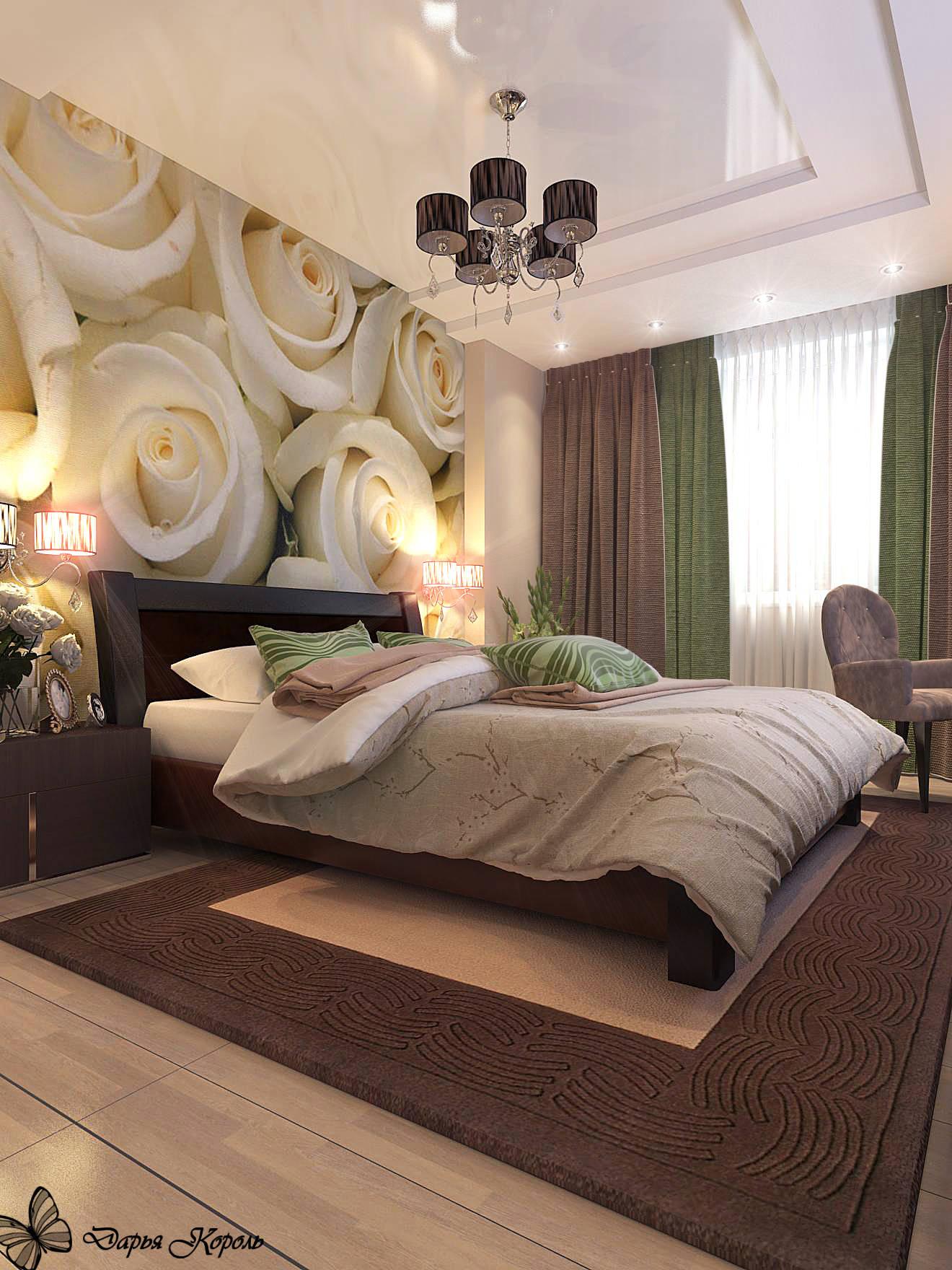 Спальня с розами
