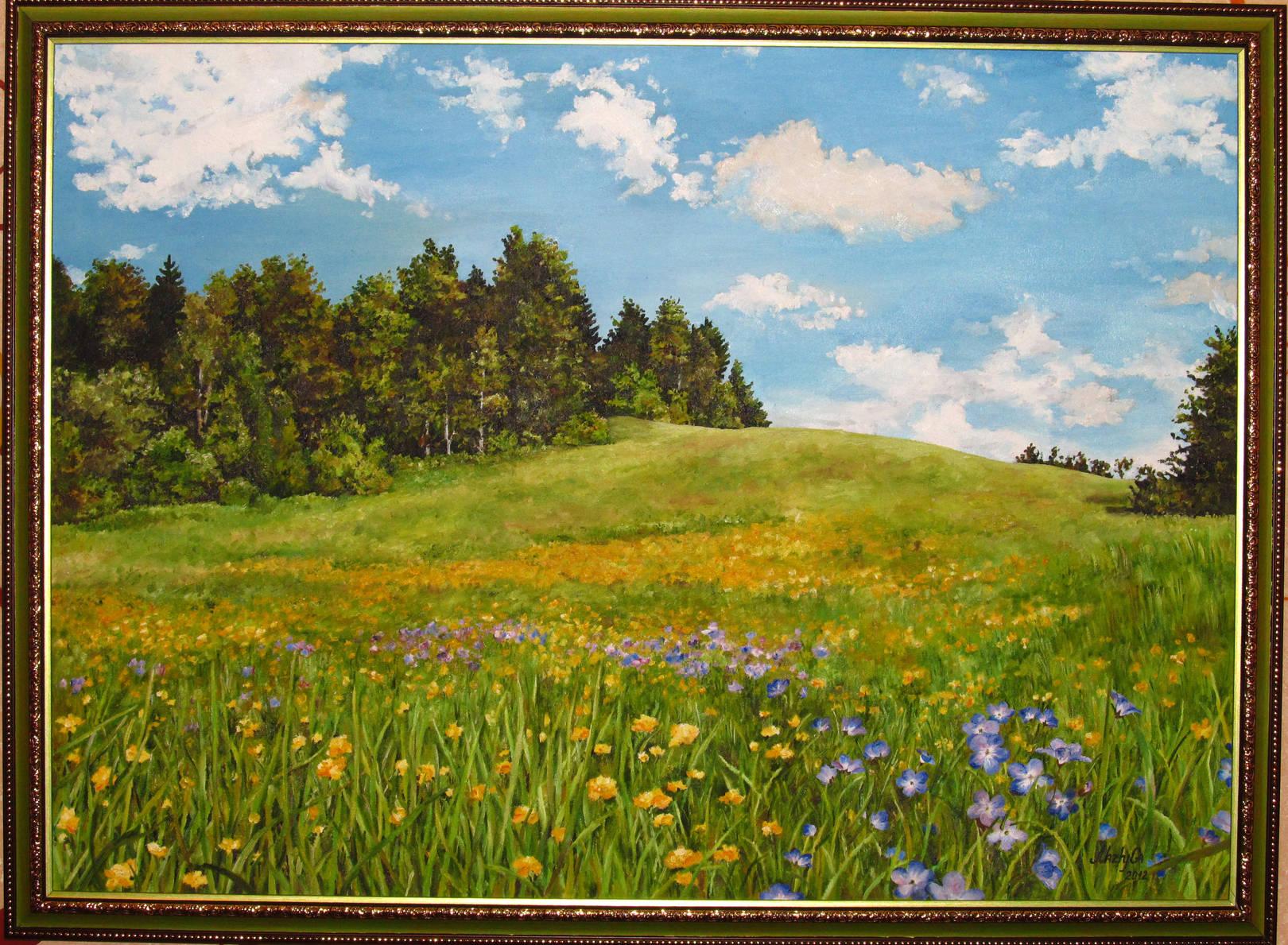 """Цветущее полее"" Пейзаж. Масло, холст, размер 103х76 см."