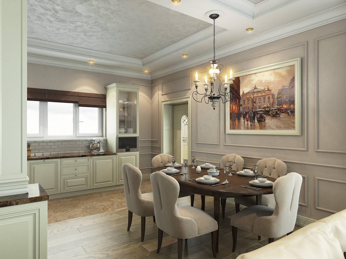 Интерьер кухни-гостиной в частном коттедже в Щелково