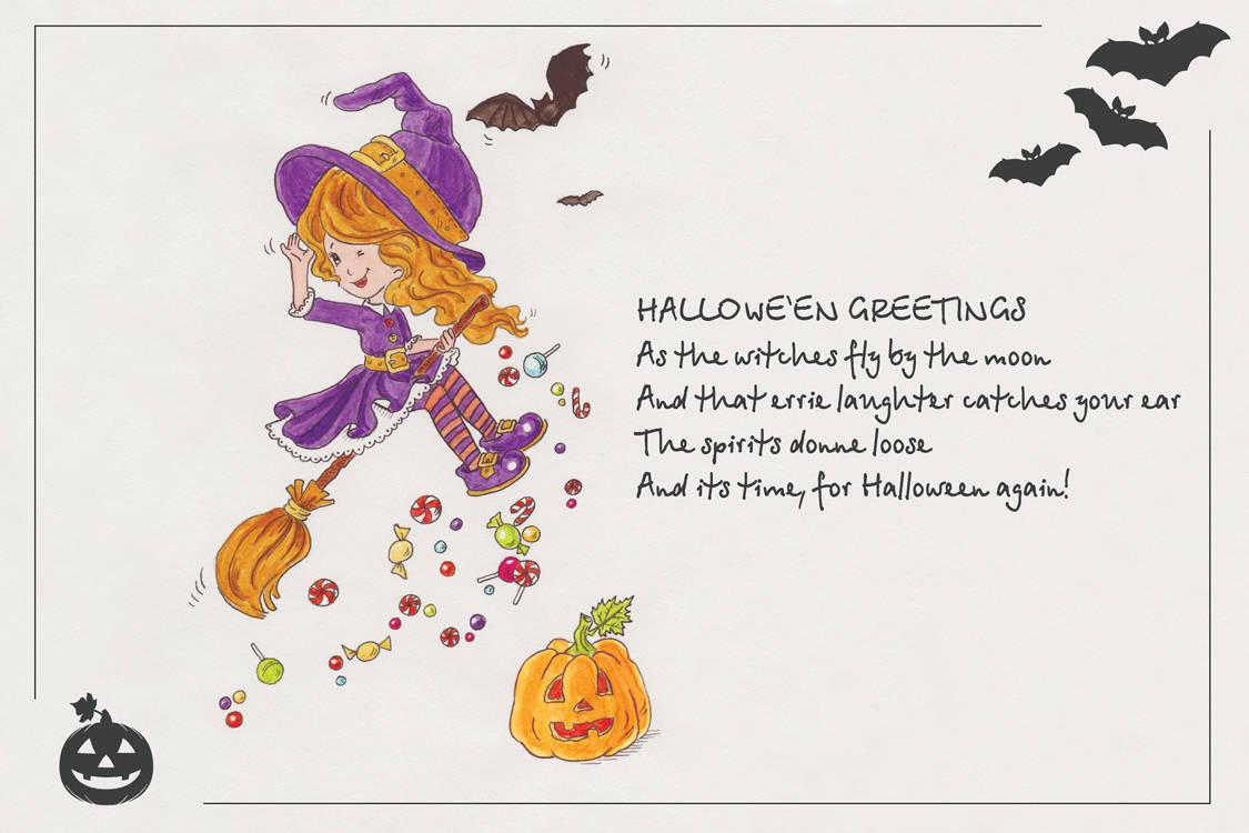 Little witch (маленькая колдунья). Открытка к Halloeen 10х15 см.