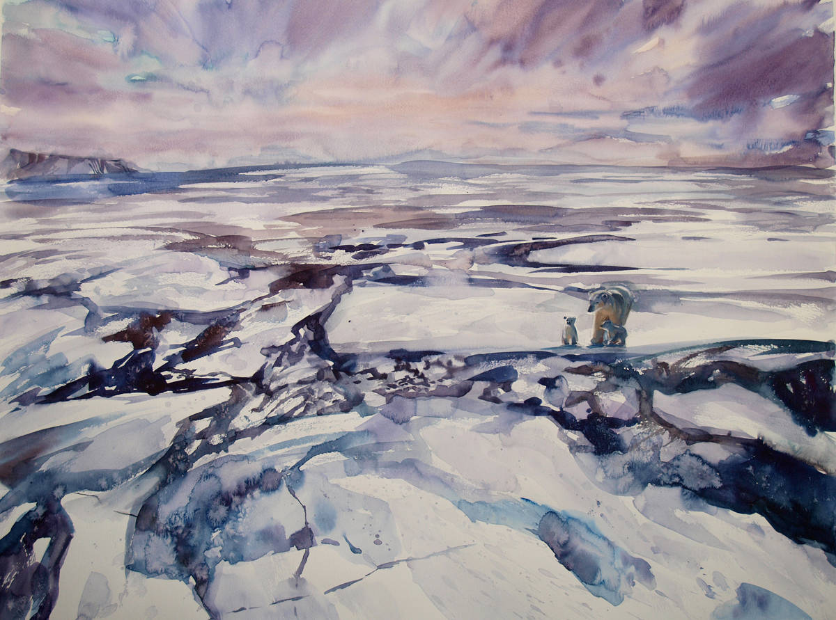 "На краю Земли. Из серии ""Среди снегов и метелей"", 2014. Бум., акварель, 57х77"