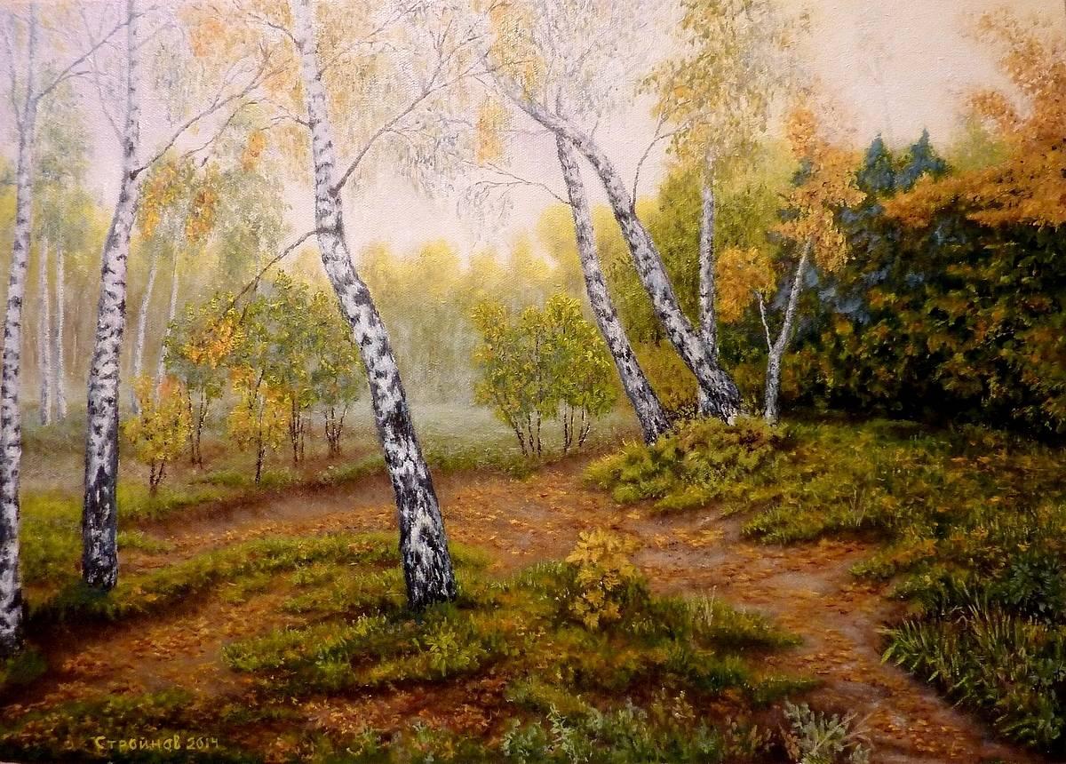 Лес танцующих берез.   Холст, масло  50х70  см.