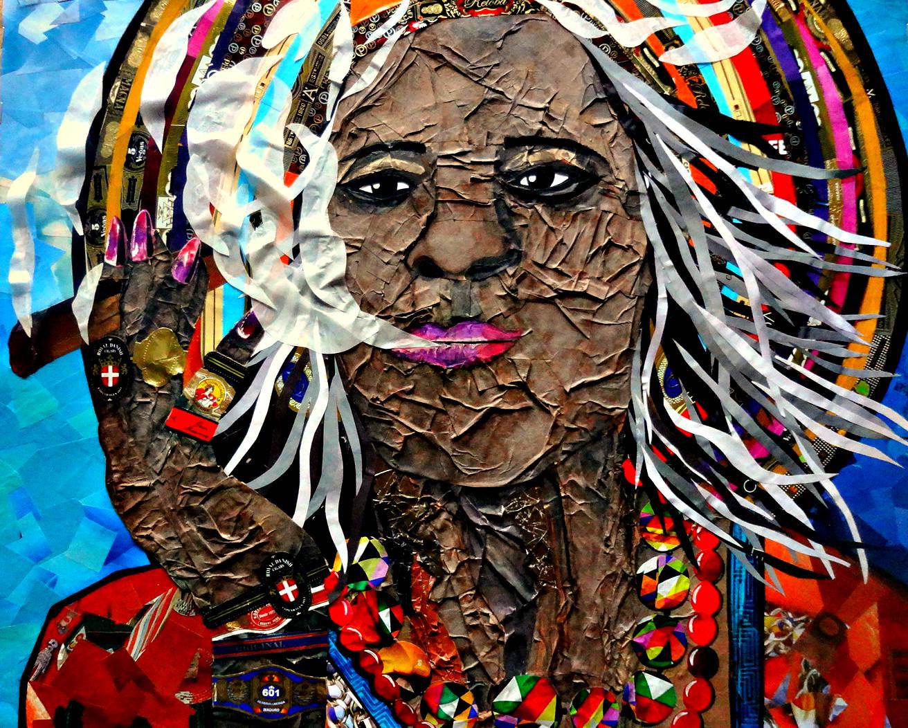 "Картина-коллаж ""Незнакомка с бульвара Пасео-дель-Прадо"""
