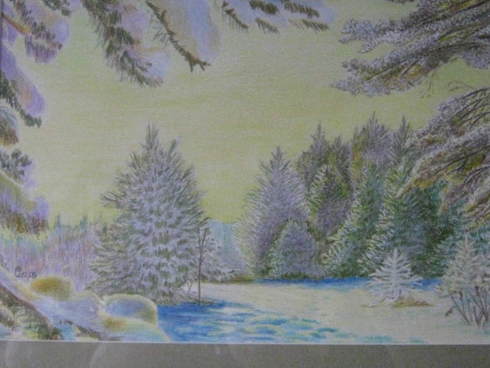 Яркий зимний день. Работа выполнена в смешанной технике на бумаге (цв.карандаш, гуашь), в жанре Пейзаж, размером 29х40.
